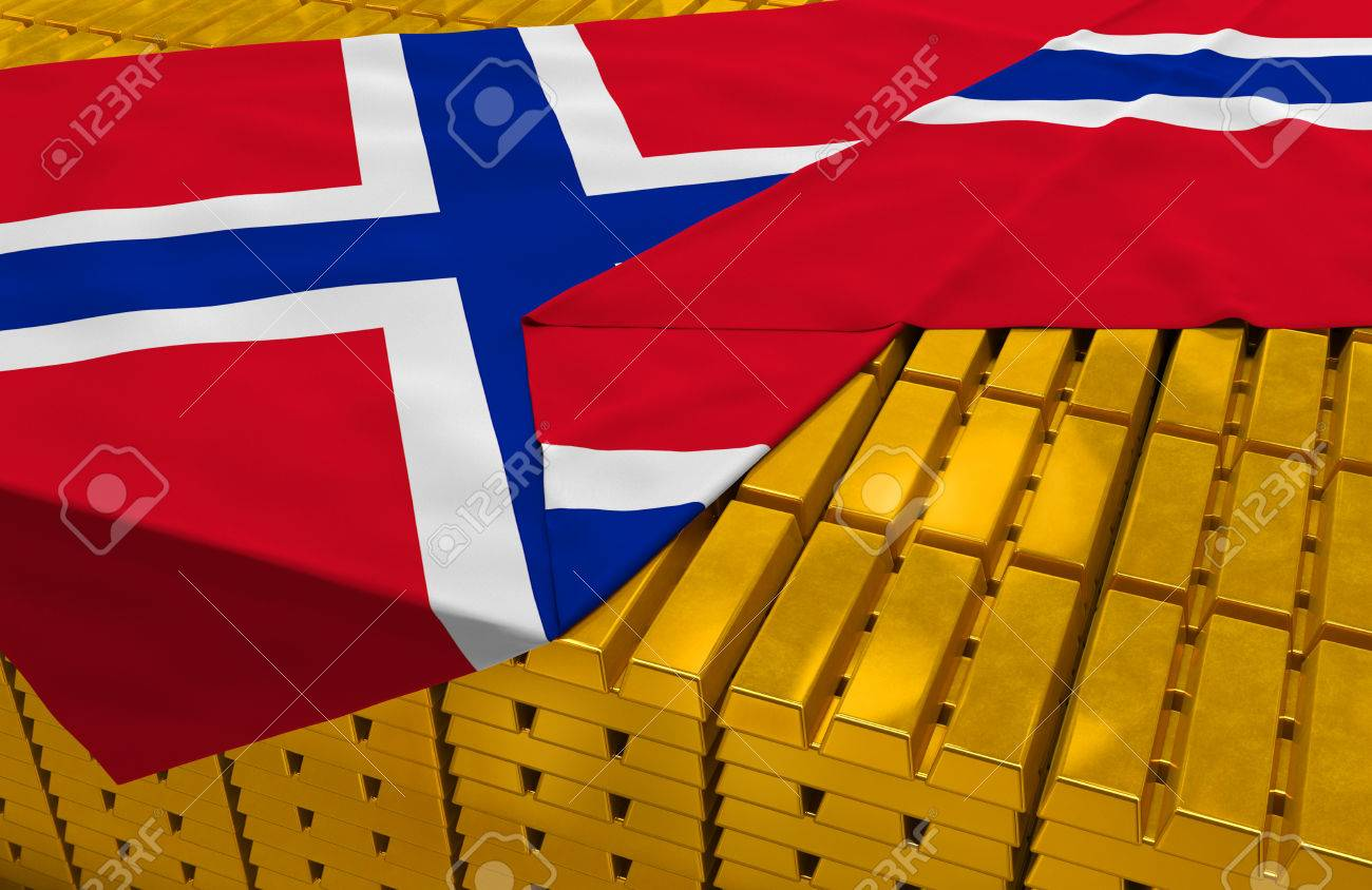 norway gold reserve stock golden bars ingots are covered with