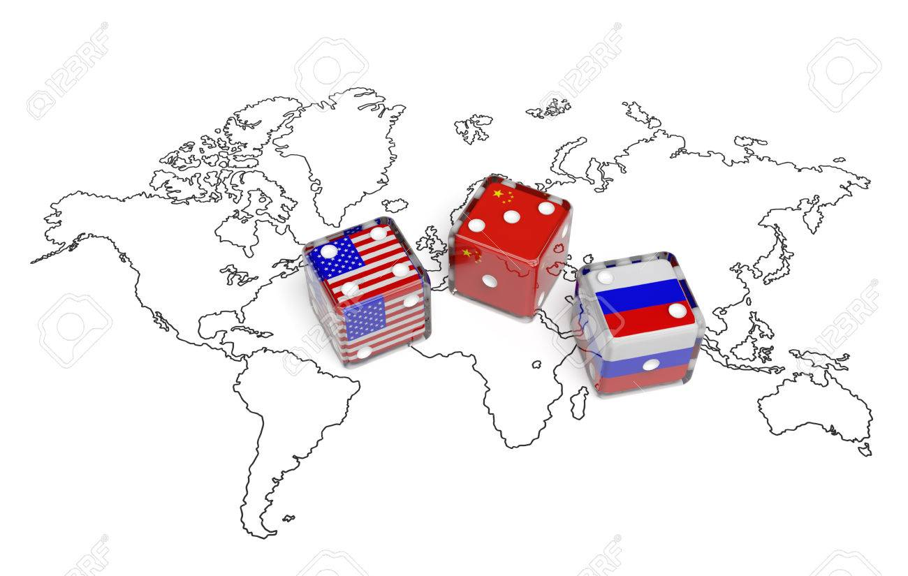 Negotiation Political Concept Dices With Flags Of Usa Russia