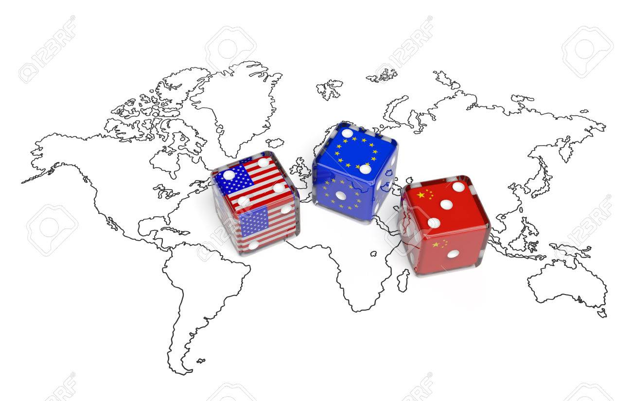 Negotiation political concept dices with flags of usa china negotiation political concept dices with flags of usa china and european union on the gumiabroncs Images
