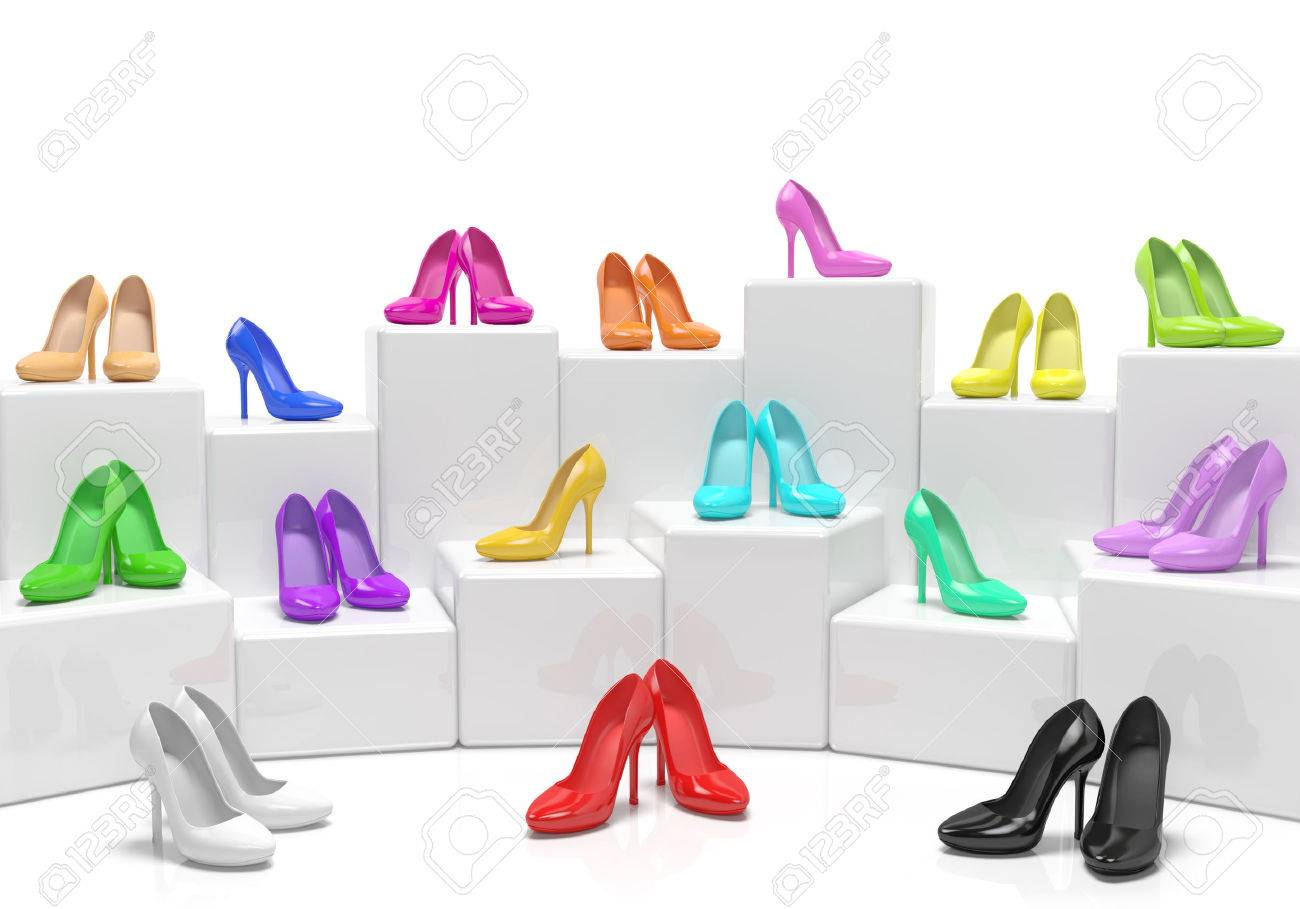 Colored Woman Shoes High Heels Stilettos Design Concept On Stands As