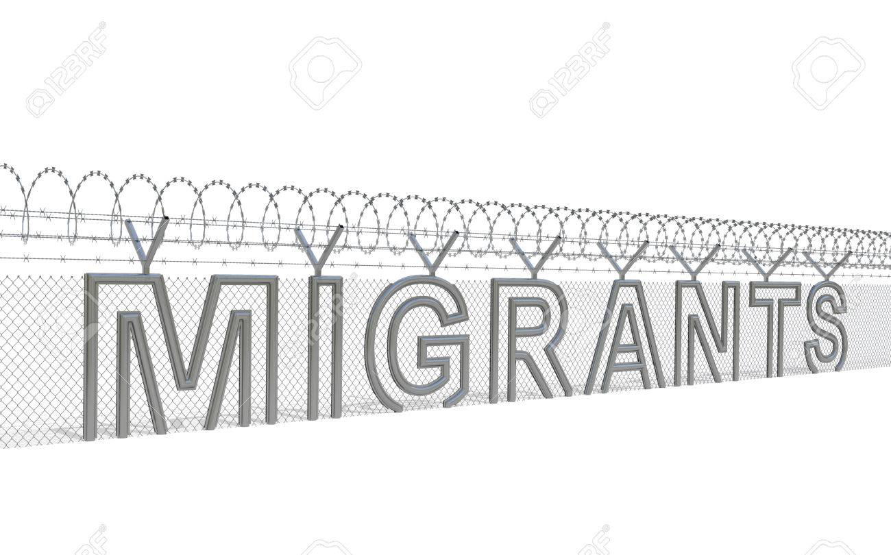Migrants Refugees Migration Crisis Concept. Metal Wire Fence.. Stock ...