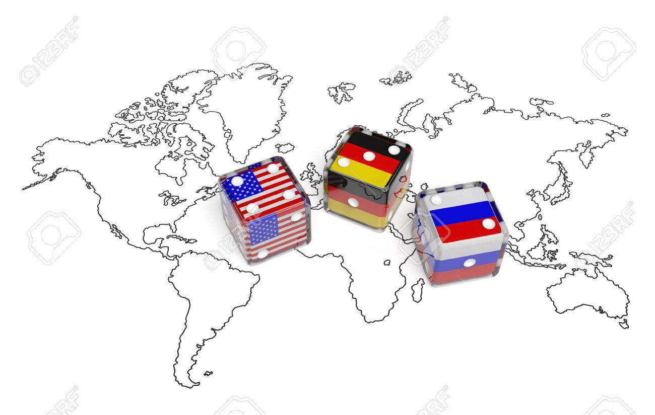 Negotiation Political Concept Dices With Flags Of Usa Germany