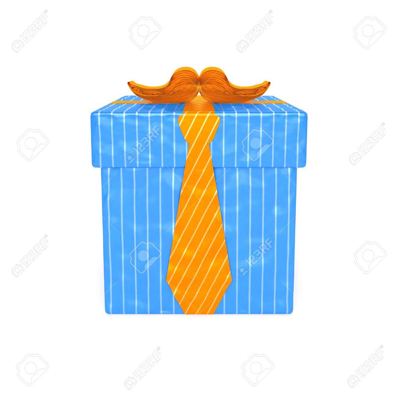 Gift For Men Blue Striped Gift Box With Orange Ribbon In The
