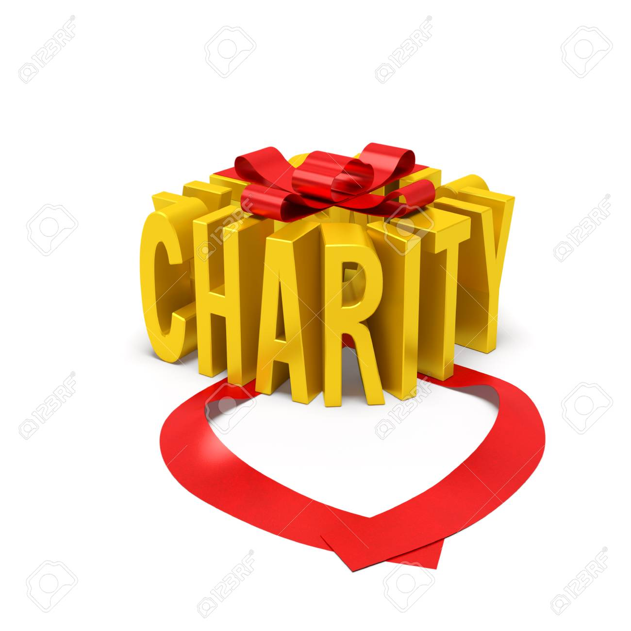 Charity Creative Concept Golden Word In The Form Of Gift Box With