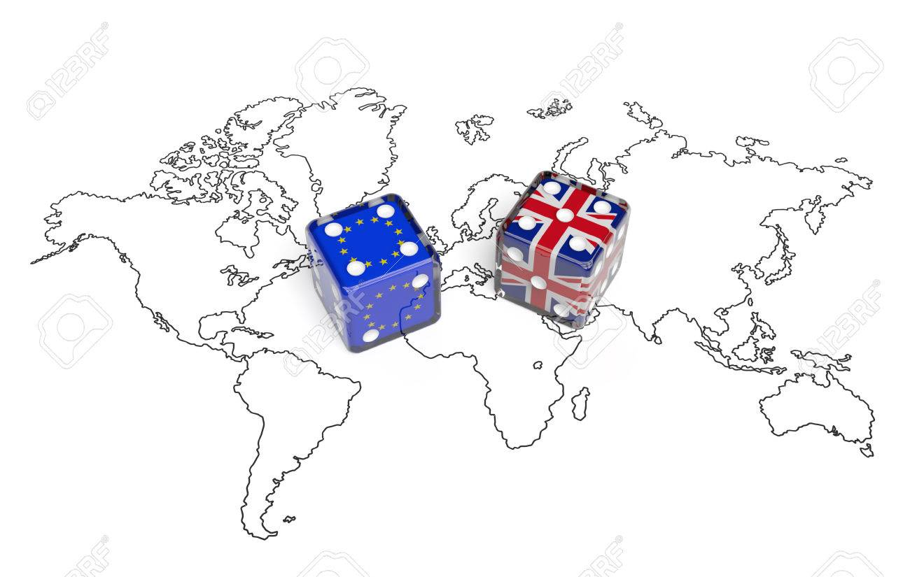 Negotiation Concept: Dices With Flags Of Great Britain And European ...