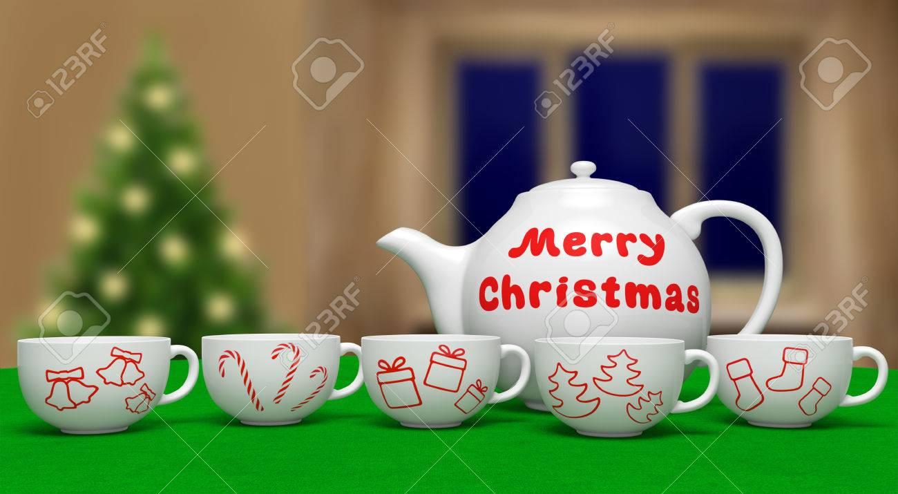 Frohe Weihnachten (festliche Karte). Weiße Keramik Teekanne Mit Text ...