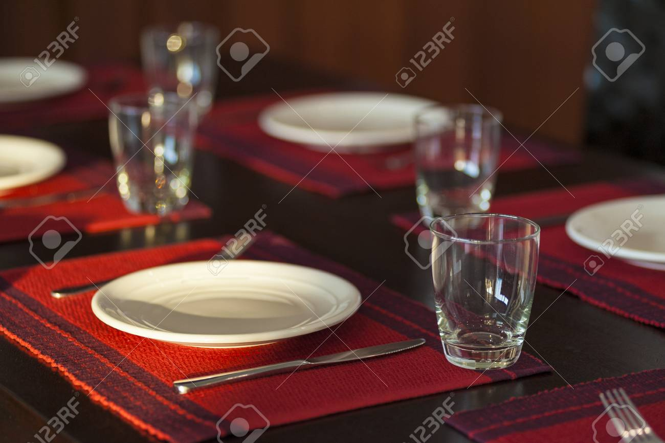 Superieur Restaurant Table Setting With Empty Glasses;red Cloth Plate Stock Photo    100938209
