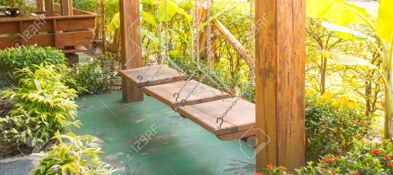 Funny Relax Hangstoel Wit.Wooden Swing Hang Chair Relax And Fun Zone Stock Photo Picture