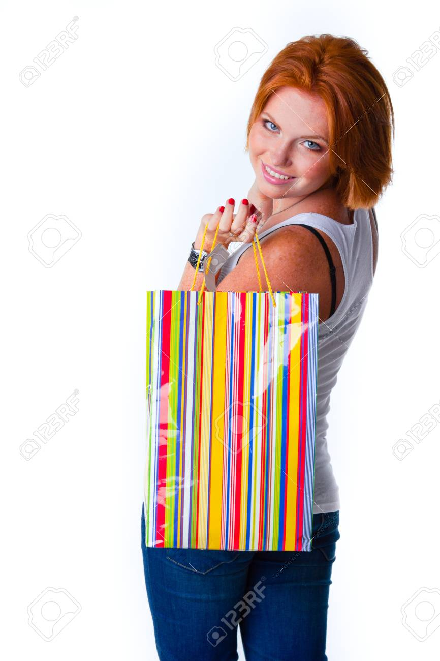 cute model in studio with red hair Stock Photo - 12502583