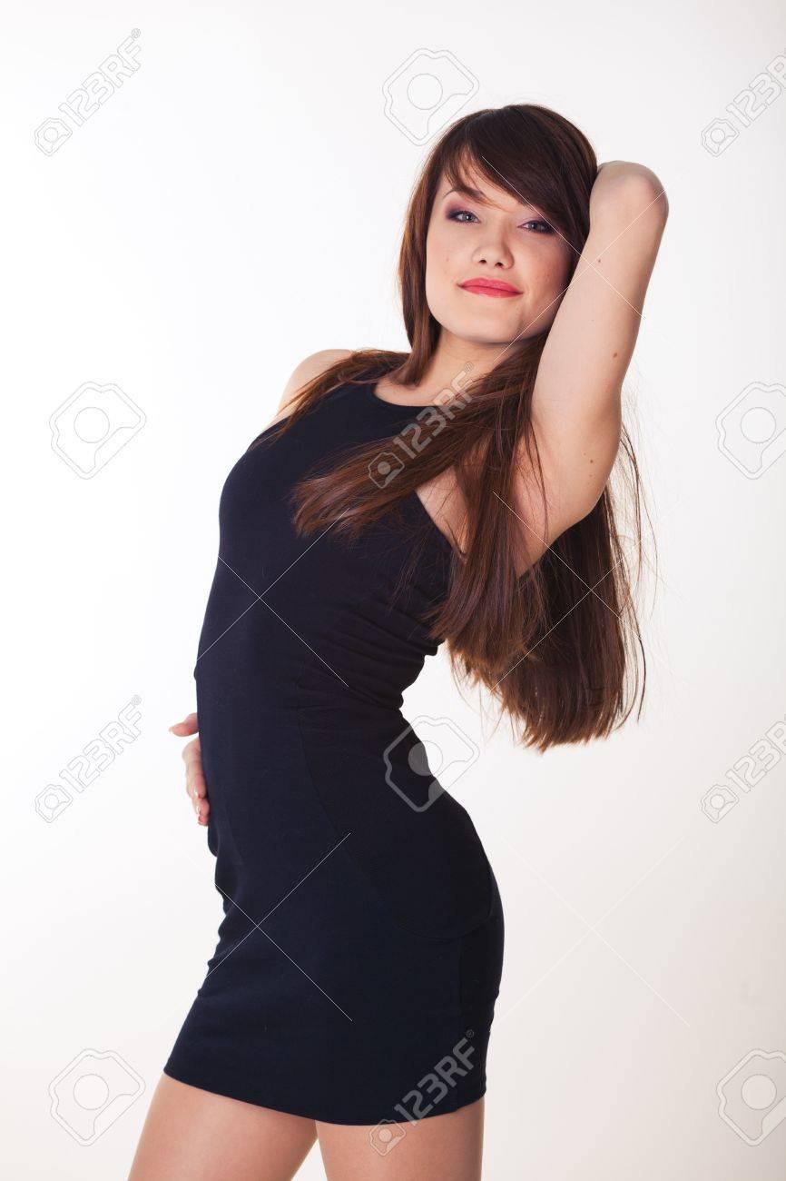 Happy smiling beautiful woman on white background Stock Photo - 16248841