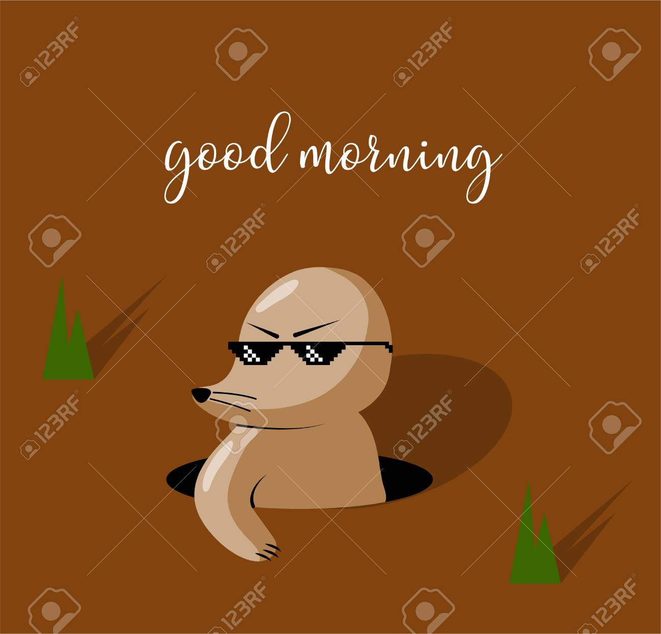 Good Morning Funny Cartoon Mole Drawing Vector Illustration