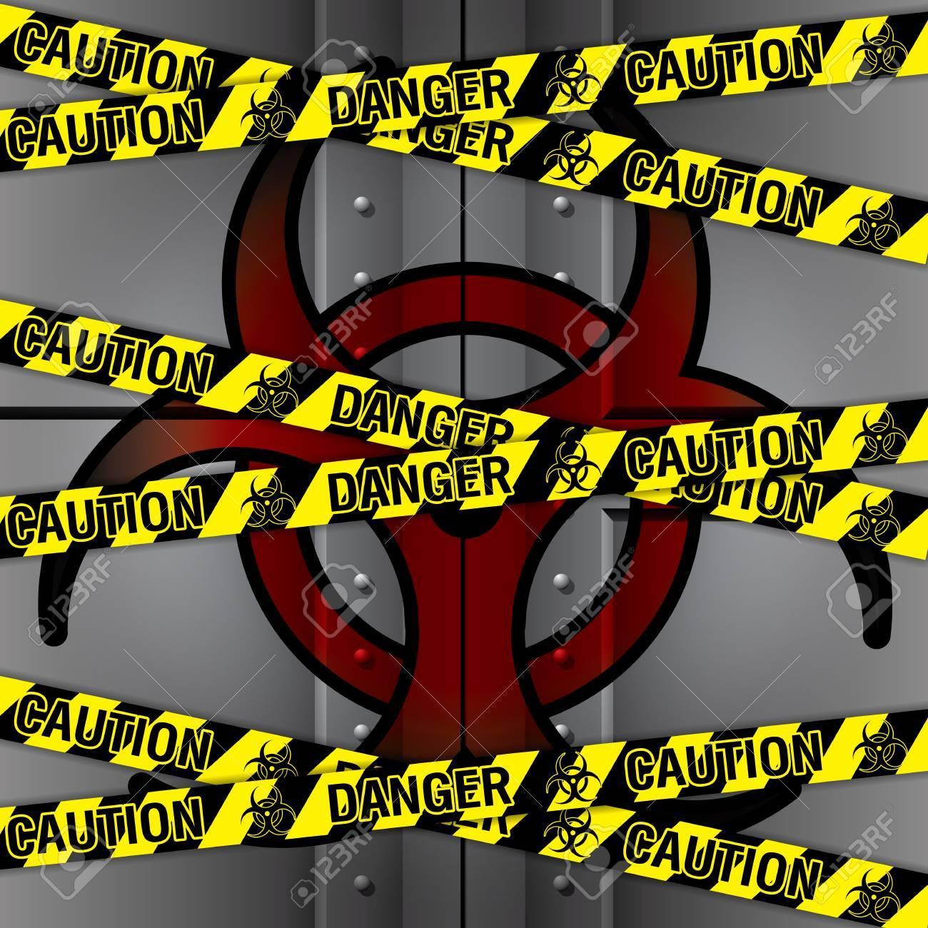 バイオハザード実験室鉄ドア警察セキュリティ テープのイラストの