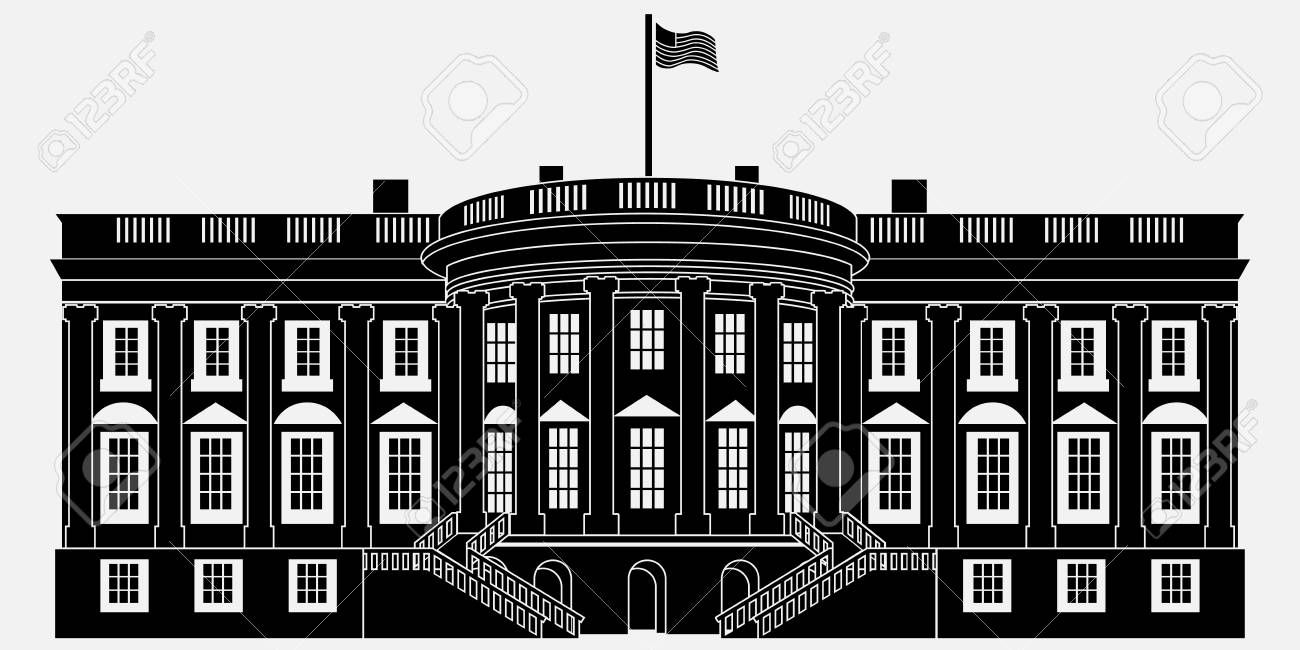 black silhouette white house isolated on white background vector