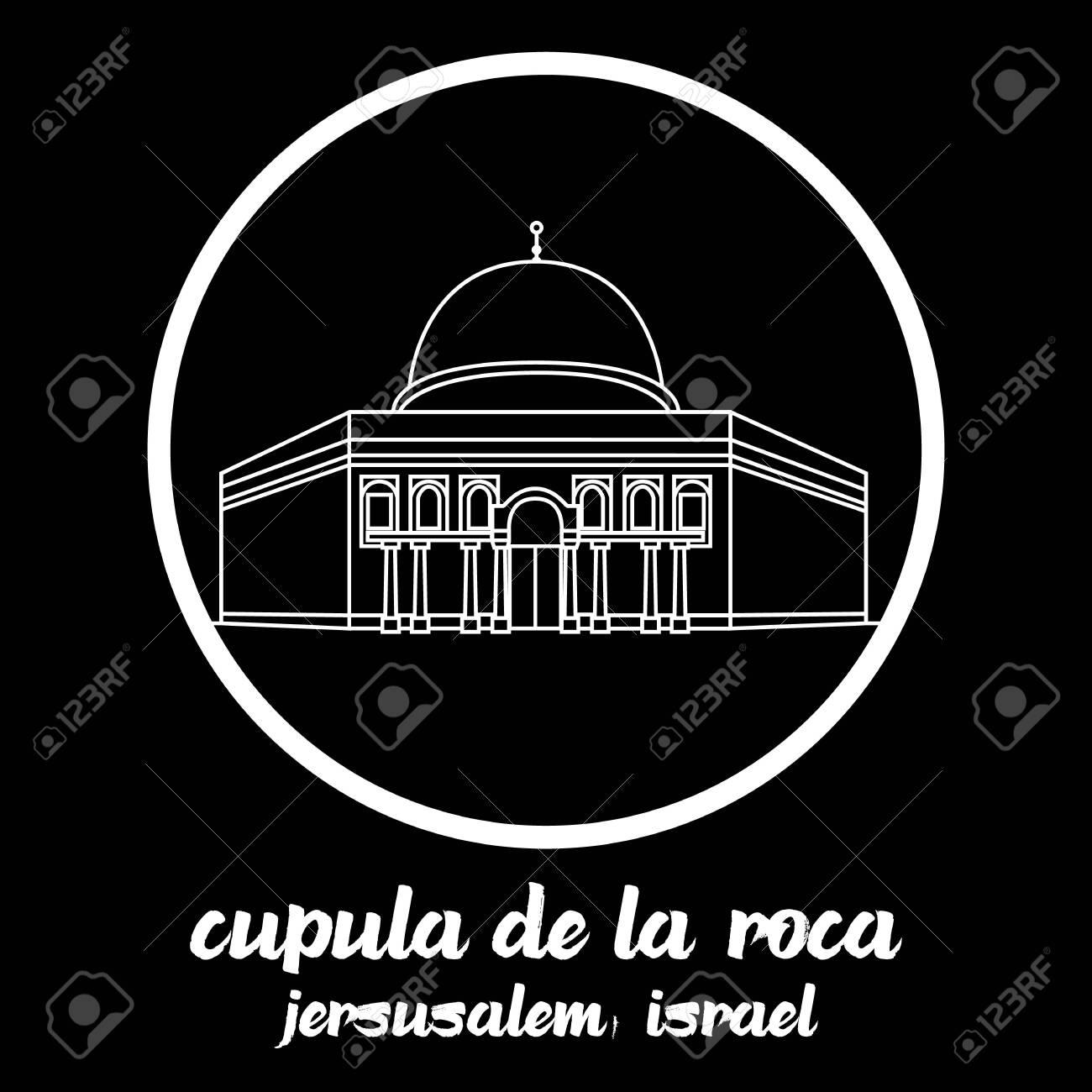 Circle icon line Cupula de la Roca. vector illustration - 133313288