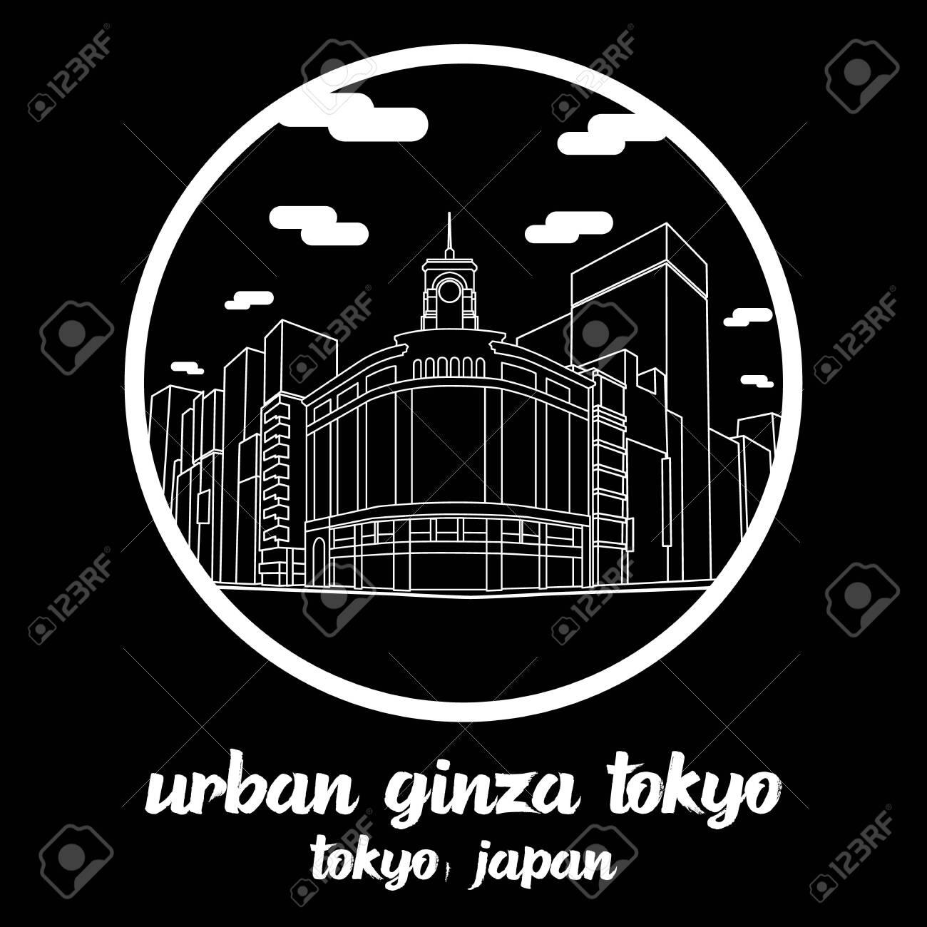 Circle icon line Urban Ginza Tokyo Japan. vector illustration - 133064456
