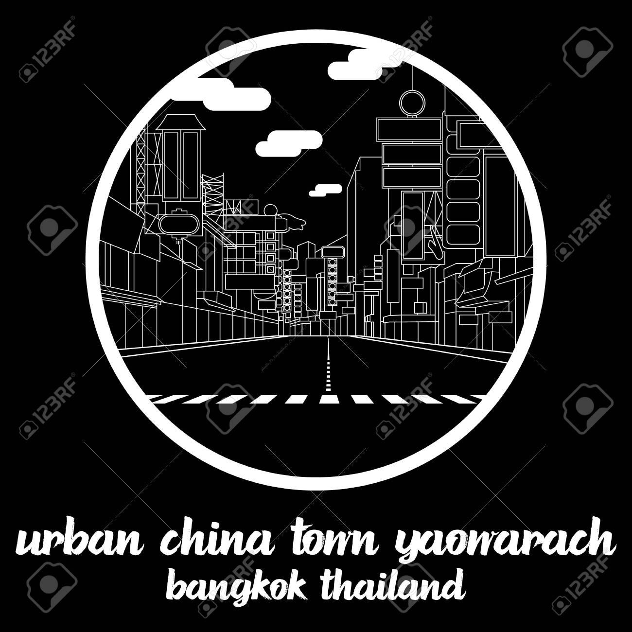 Circle icon line Urban China Town Yaowarach. vector illustration - 133311202