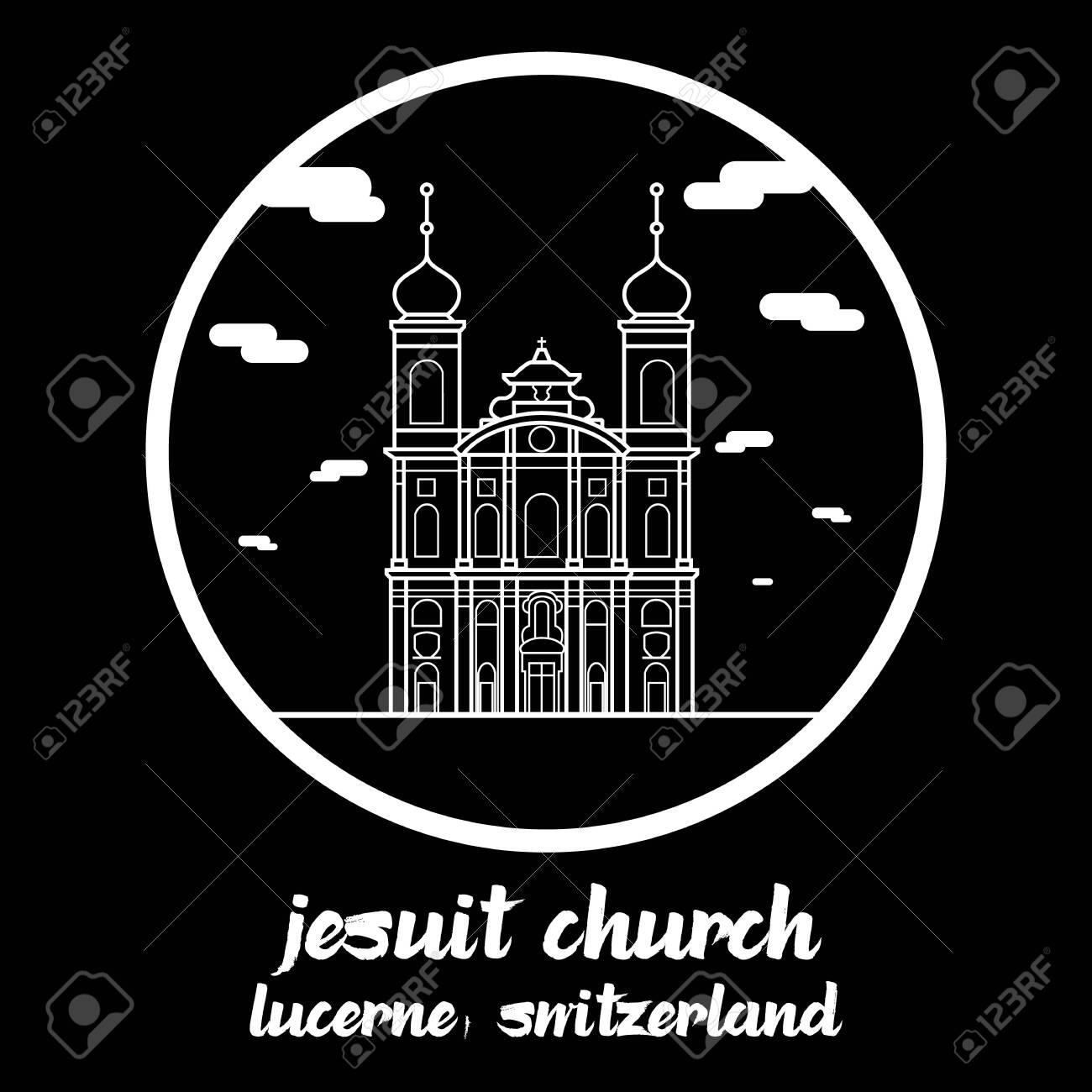 Circle icon line Jesuit Church. vector illustration - 133311206