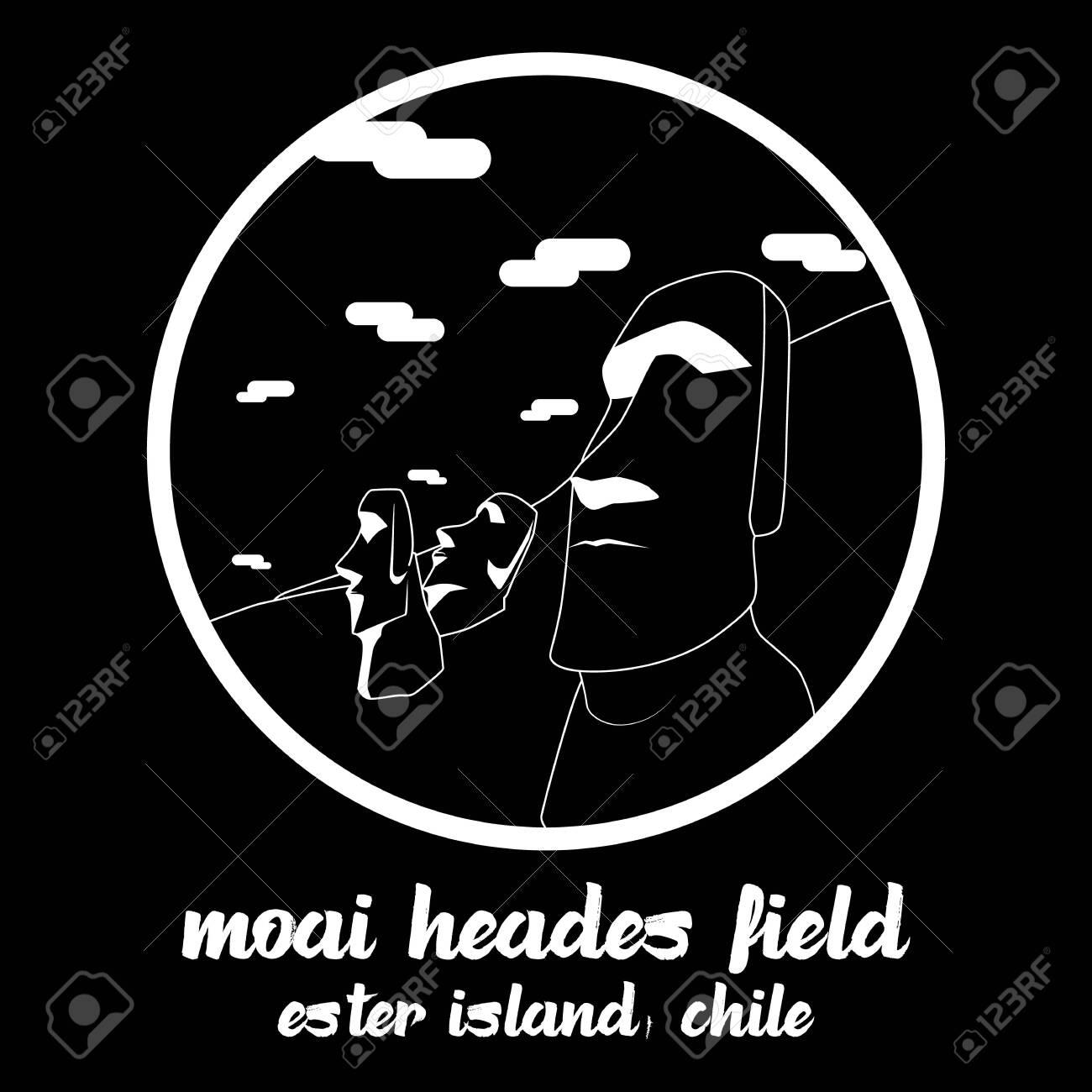 Circle icon line Moai Heades Field. vector illustration - 133311208