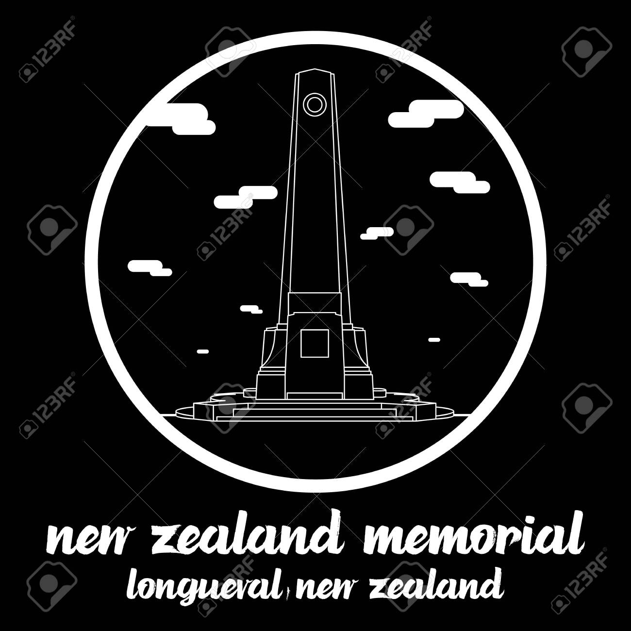 Circle icon line New Zealand Memorial in Longueval New zealand. icon vector illustration - 133313383