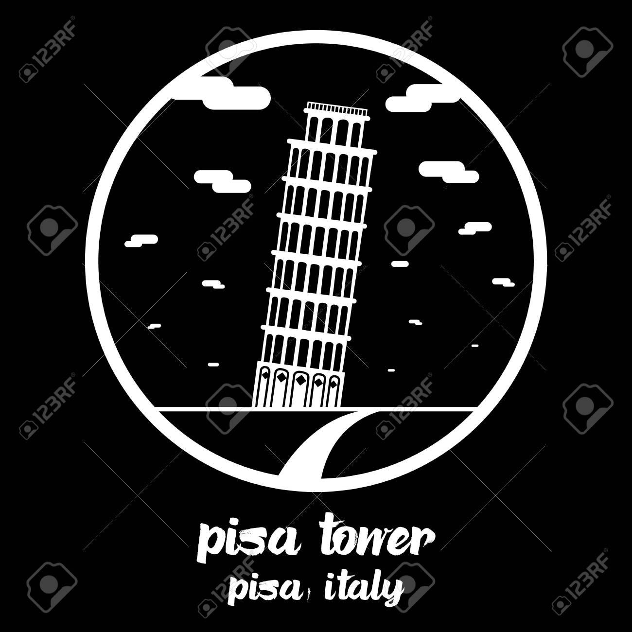 Circle icon line Pisa Tower. vector illustration - 133312992