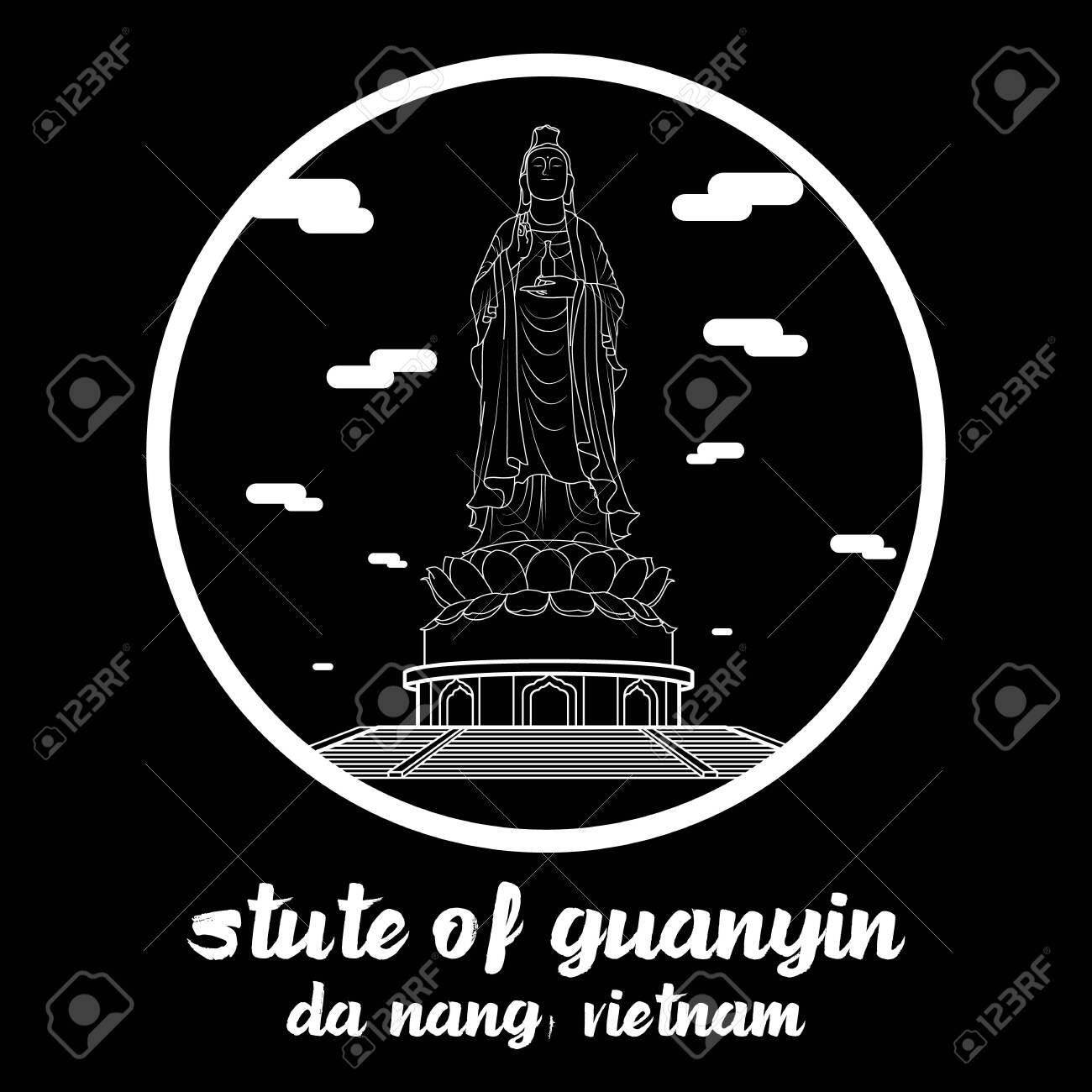 Circle icon line Statue of Guanyin. vector illustration - 133313179