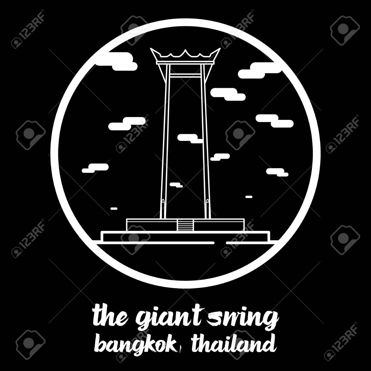 Circle icon line The Giant Swing. vector illustration - 133313189