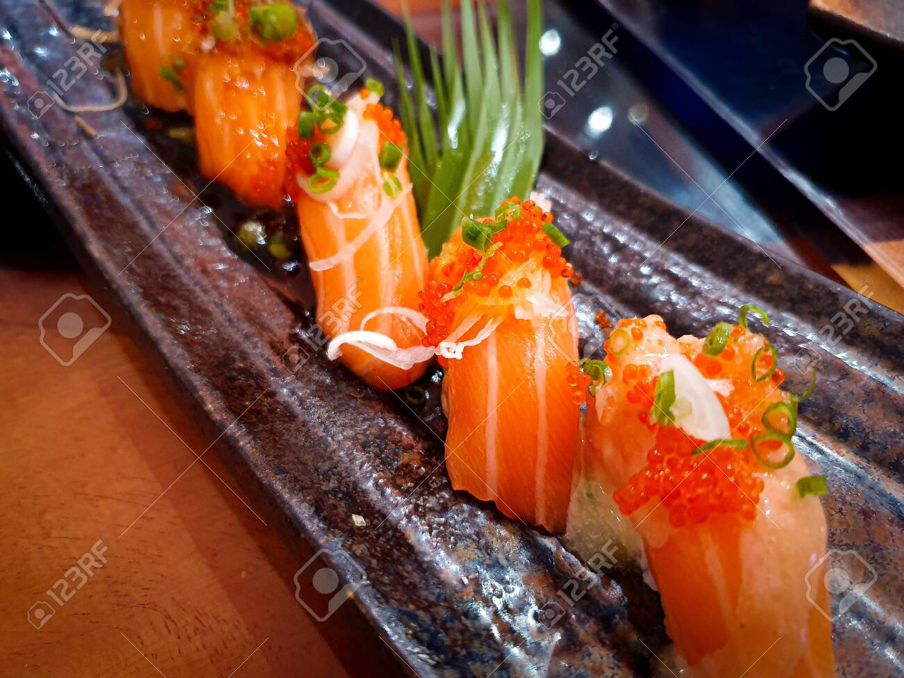 japanes food Sushi Salmon on dish - 133097587