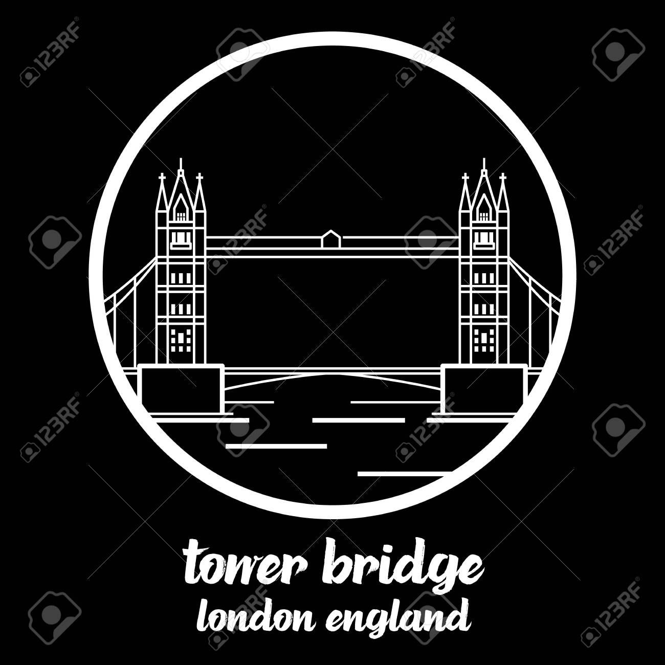 Circle Icon tower bridge. vector illustration - 133311467