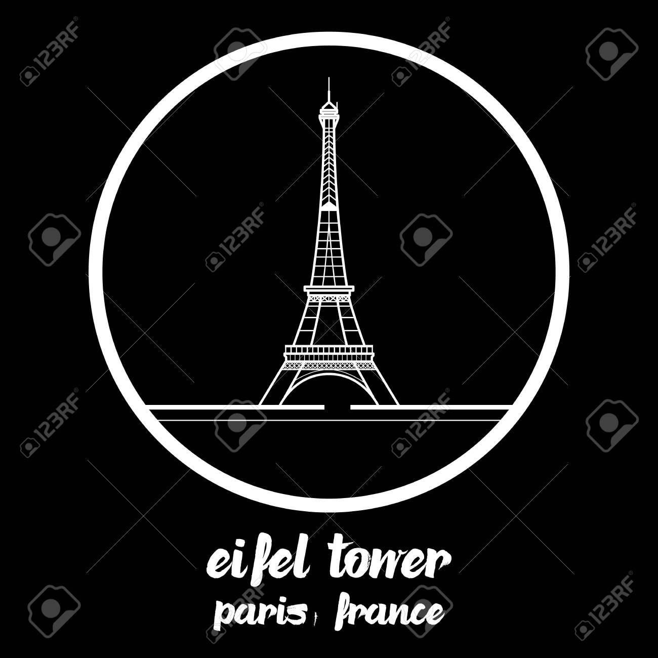 Circle Icon eiffel tower paris france. vector illustration. - 133311587