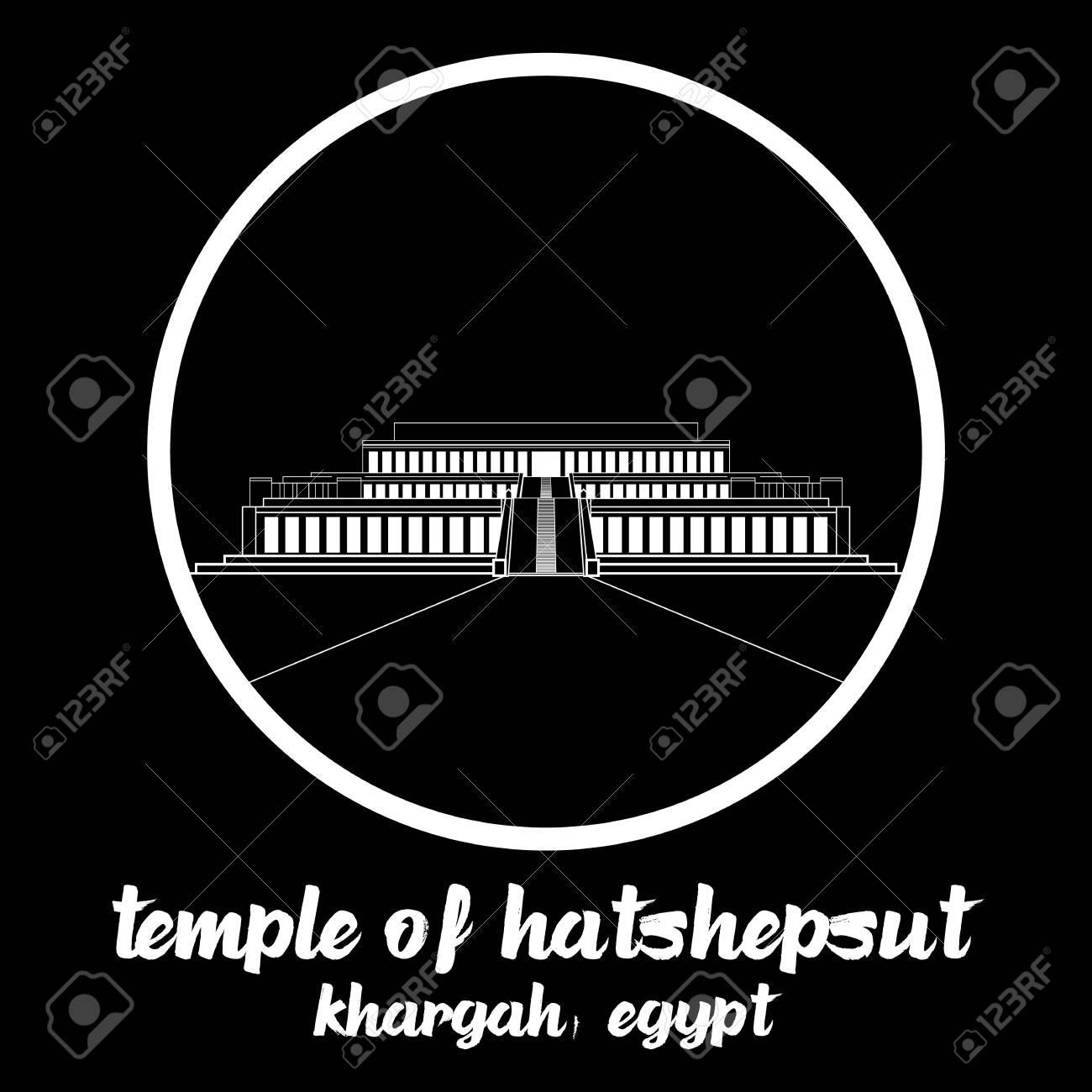 Circle Icon Temple of Hatshepsut. vector illustration - 133311794