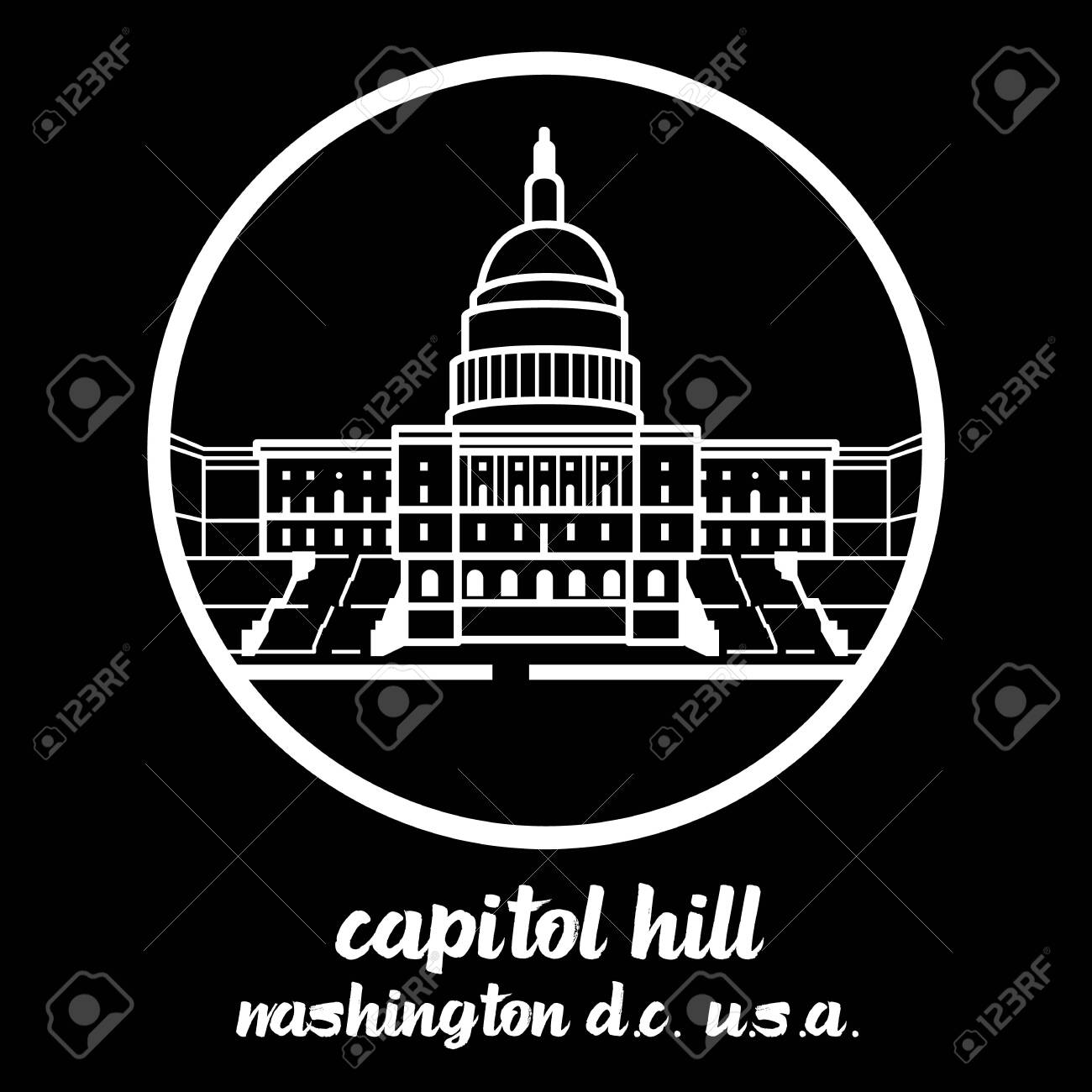 Circle Icon Capitol hill. vector illustration - 133312368