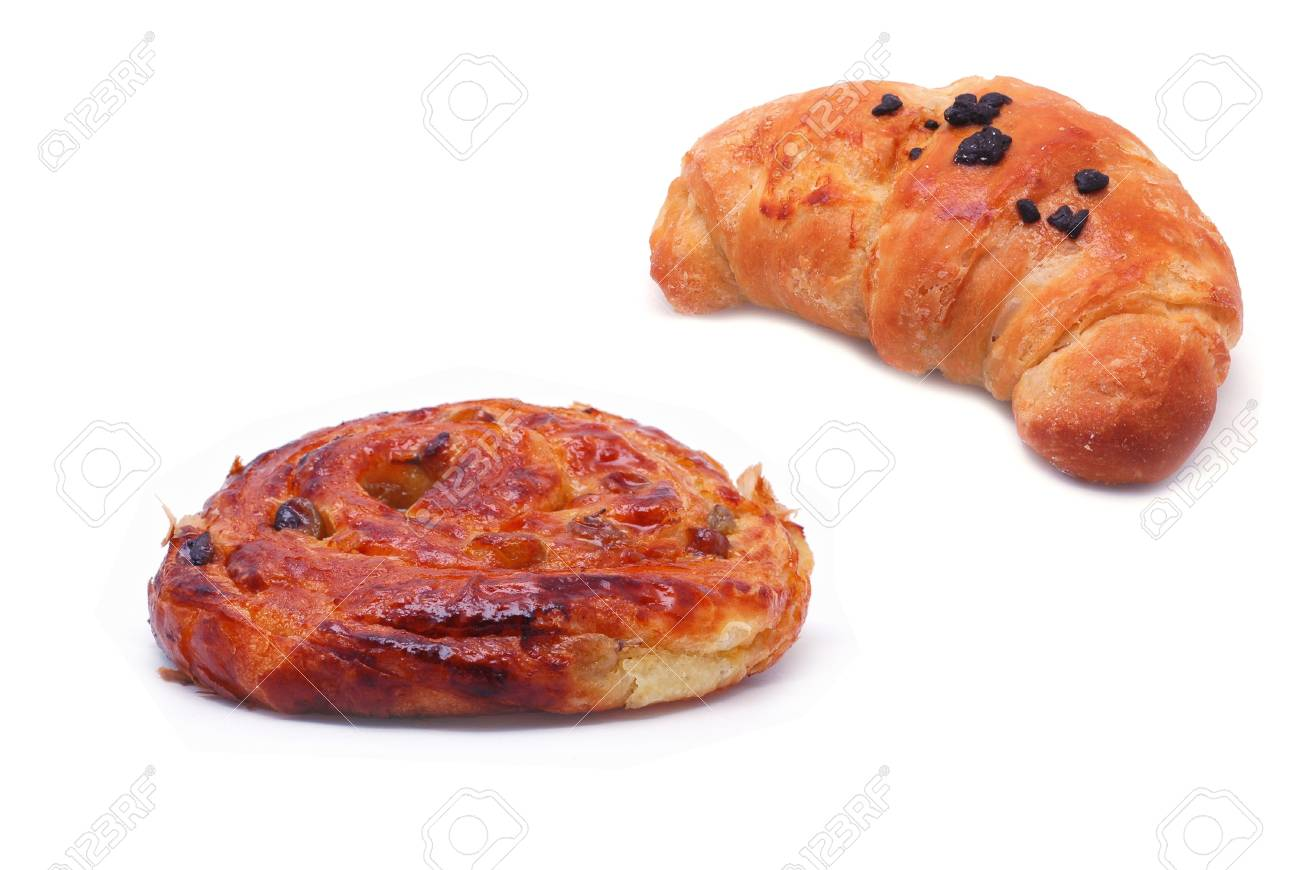 Croissant and cinnamon roll, bun isolated on white Stock Photo - 11742259
