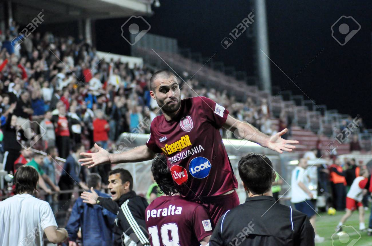 CLUJ NAPOCA, ROMANIA � MAY 11: FC CFR Cluj players celebrate the victory against FC Vointa Sibiu, final score 2:1 on MAY 11, 2012 in Cluj N, Romania  Stock Photo - 13669033