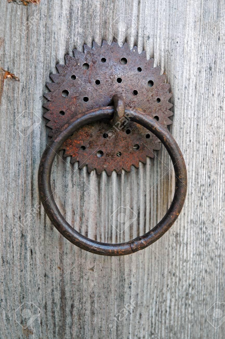 Closeup Image Of Old Door With Circle Iron Door Handle Stock Photo    38971447