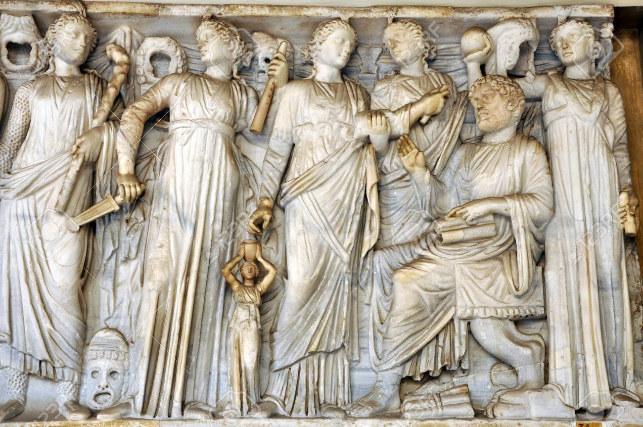 Bas-relief And Sculpture Of Ancient Roman Gods Stock Photo ...