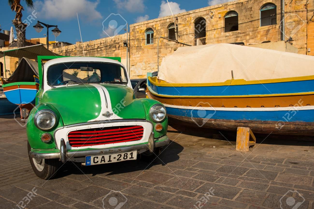 MARSAXLOKK, MALTA - AUGUST 23, 2017: Old Morris Car Parked In ...
