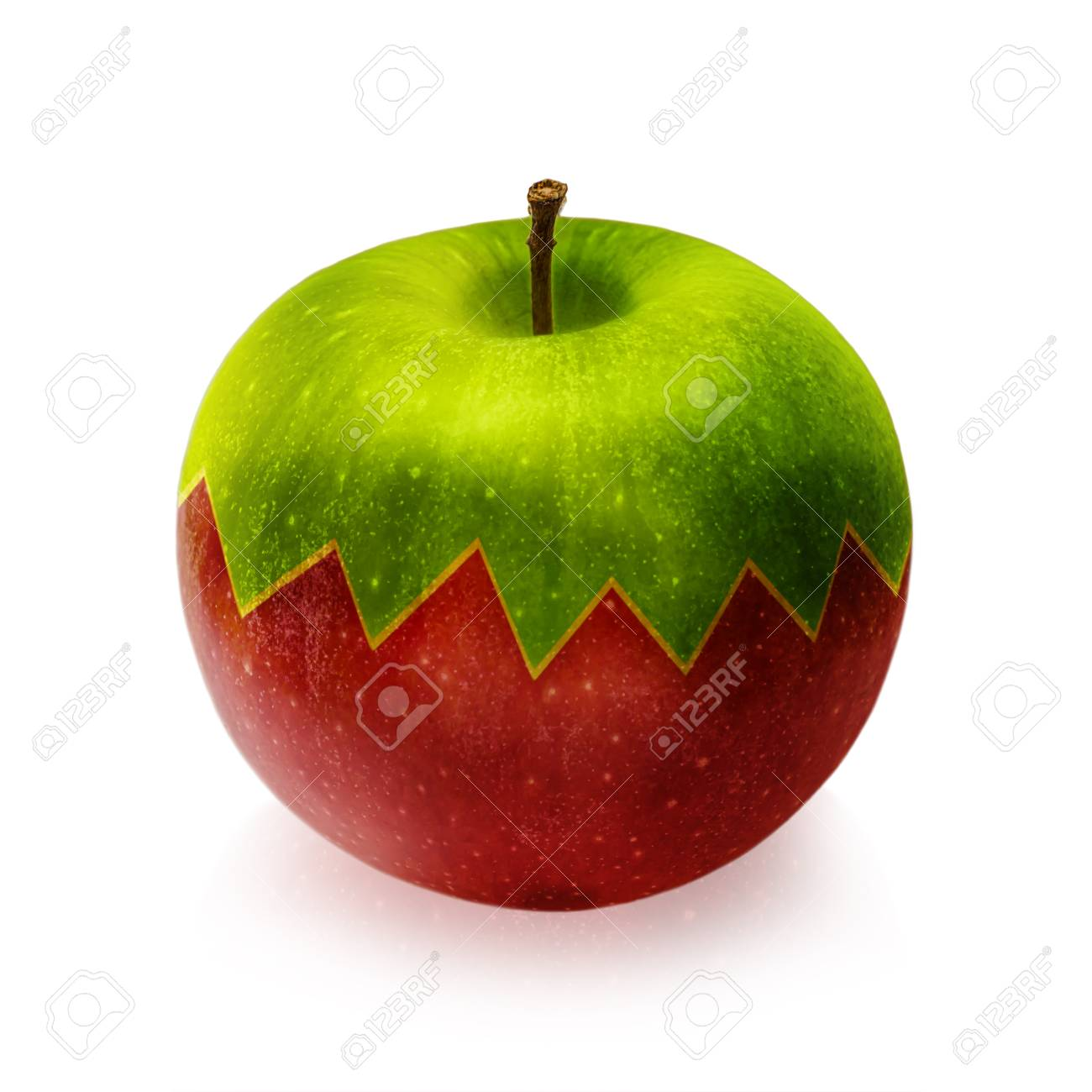 Immagini Stock Verde E Rosso Apple Isolato Su Sfondo Bianco Image