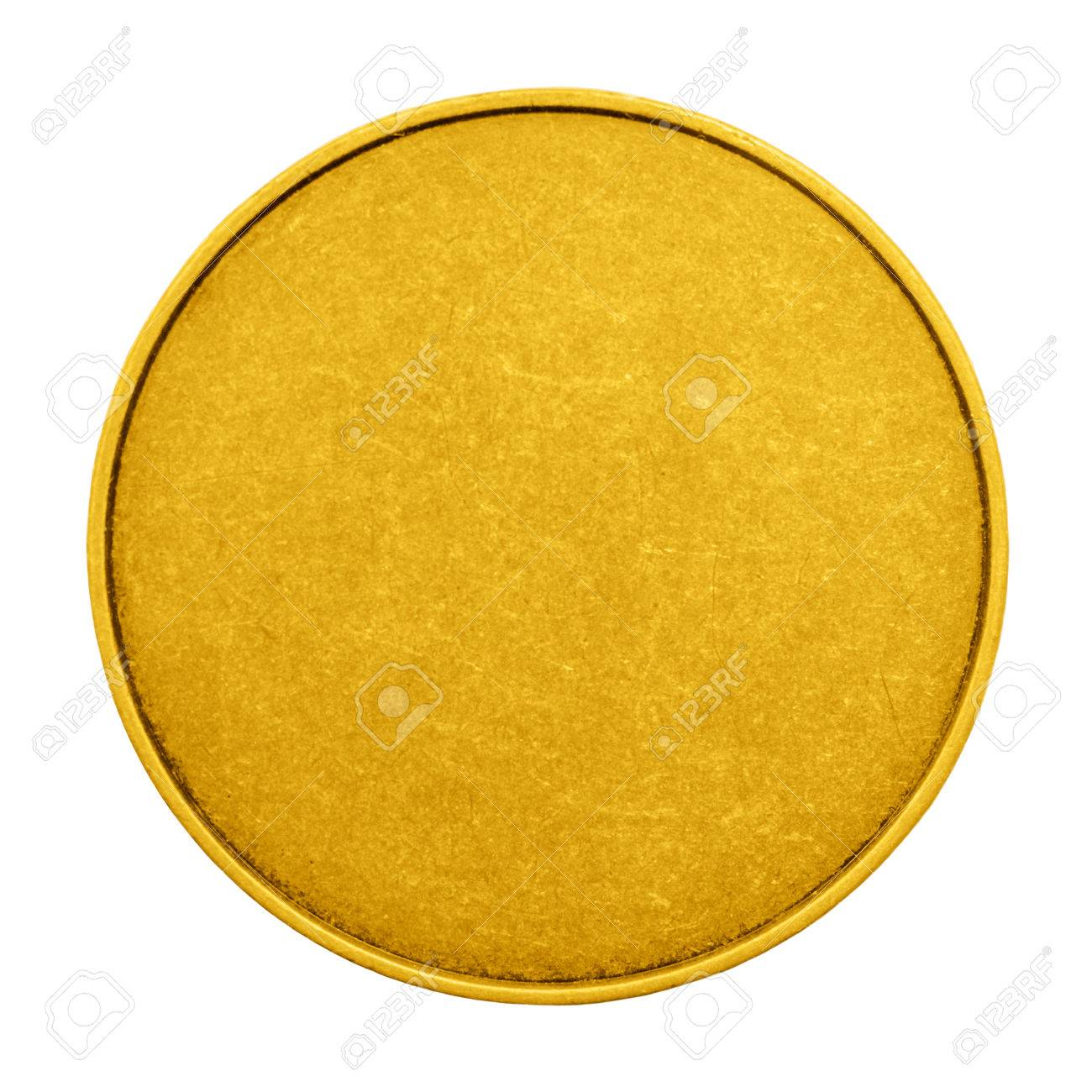 gold blank template for coins or medals metal texture stock photo