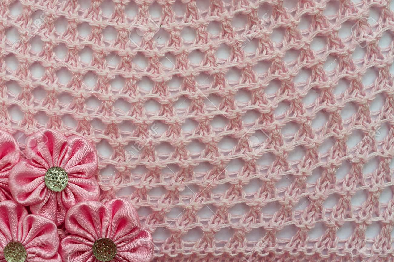 Durchbrochene Muster Häkeln Und Blumen Hintergrund Für Design