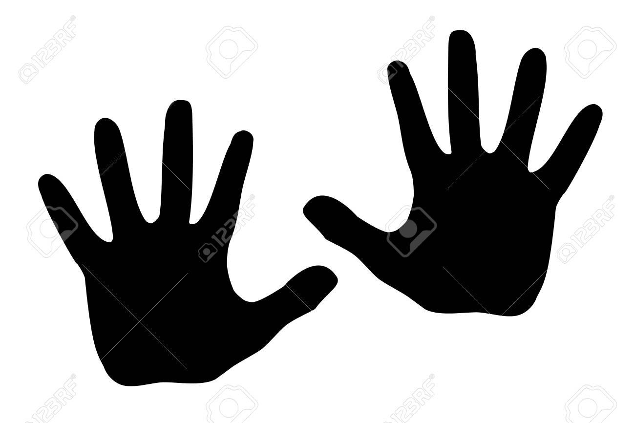 Black silhouette model palm people. - 88929225