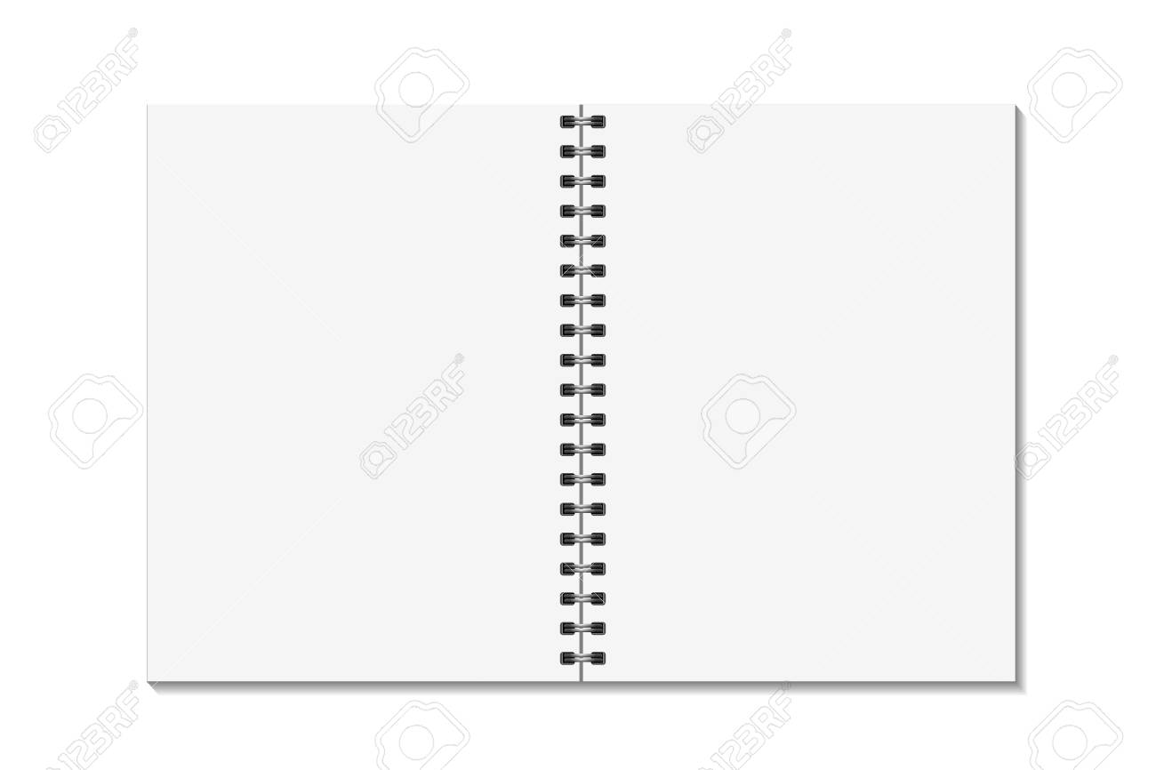 Blank Open Pages Book With Binder Metal Spiral Template. Notebook ...