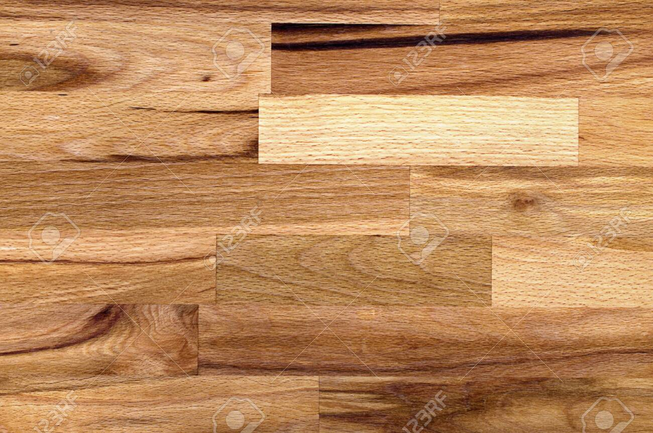 Natural empty background made of beech. Wood texture from glued bars for decoration. - 149383383