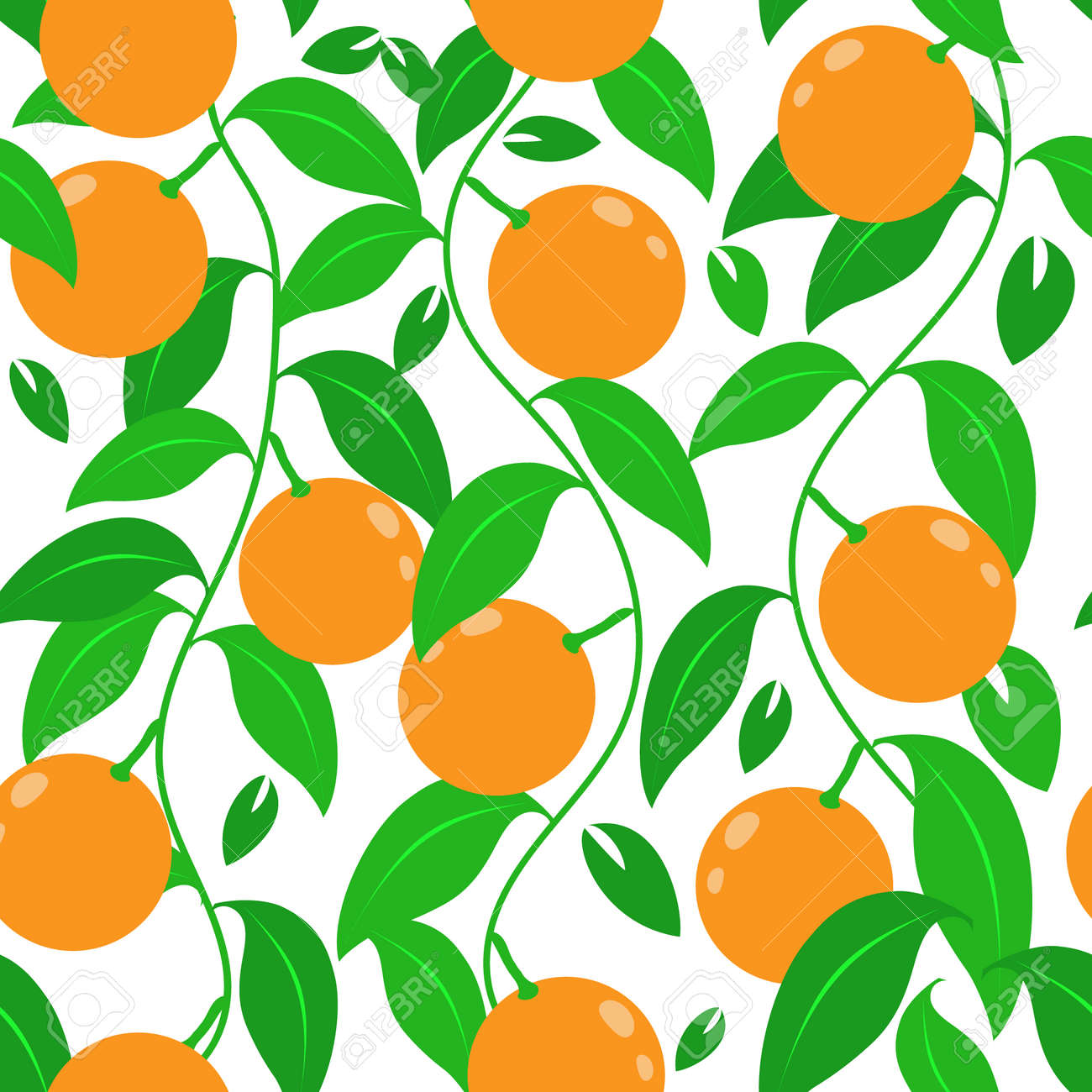 Tropical abstract seamless vector pattern with an orange, leaves. For printing and design. - 151774939