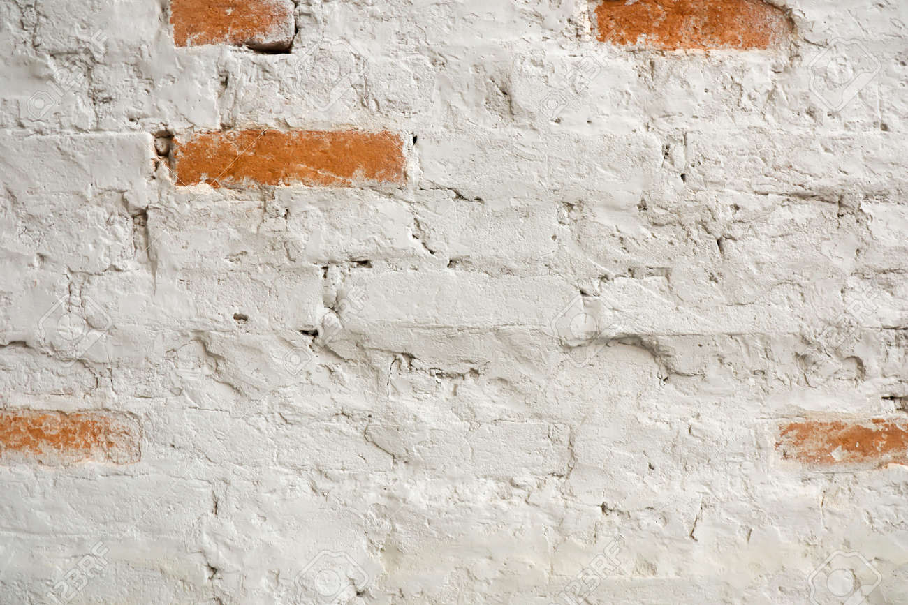 Vintage old white wash brick wall texture. Panoramic background for your text or image. - 157898324