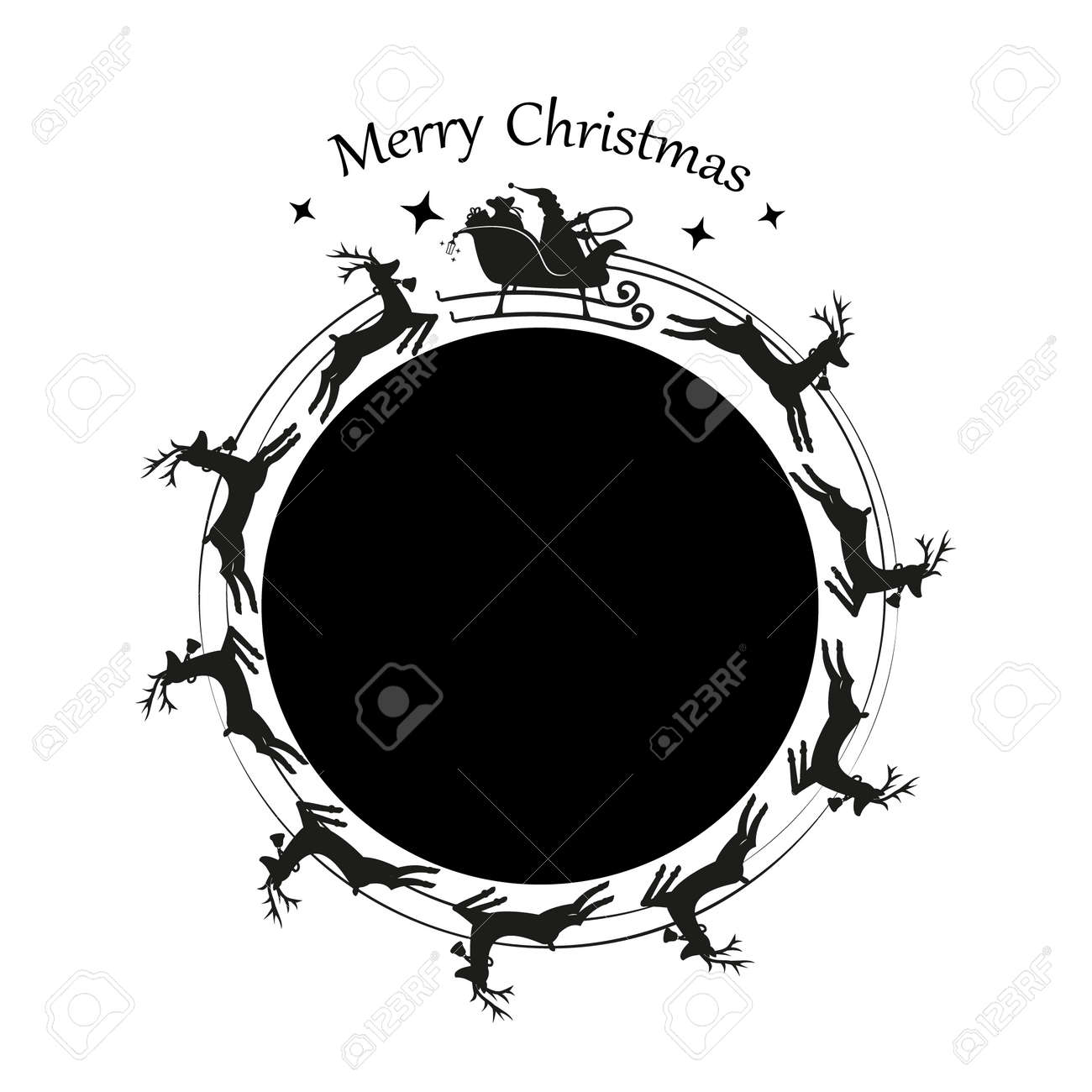 Santa Claus in a sleigh and with reindeer. Vector - 158543136