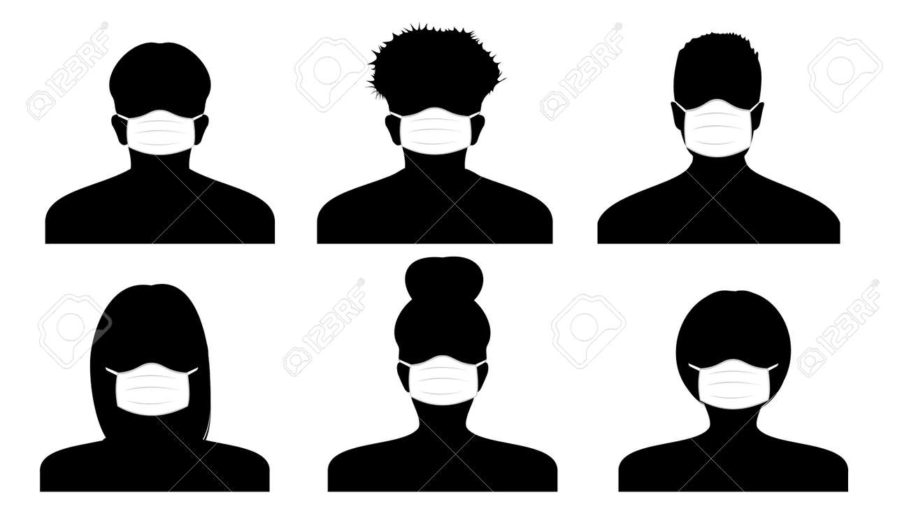Vector silhouette of a person in profile in medical masks. Icons of peoples portraits. Women and men - 158501715