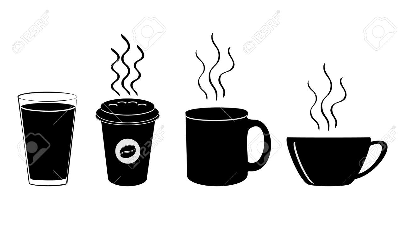 Coffee cup icon. Hot drinks glasses symbols. Flat icons on white. Vector illustration. - 158503656