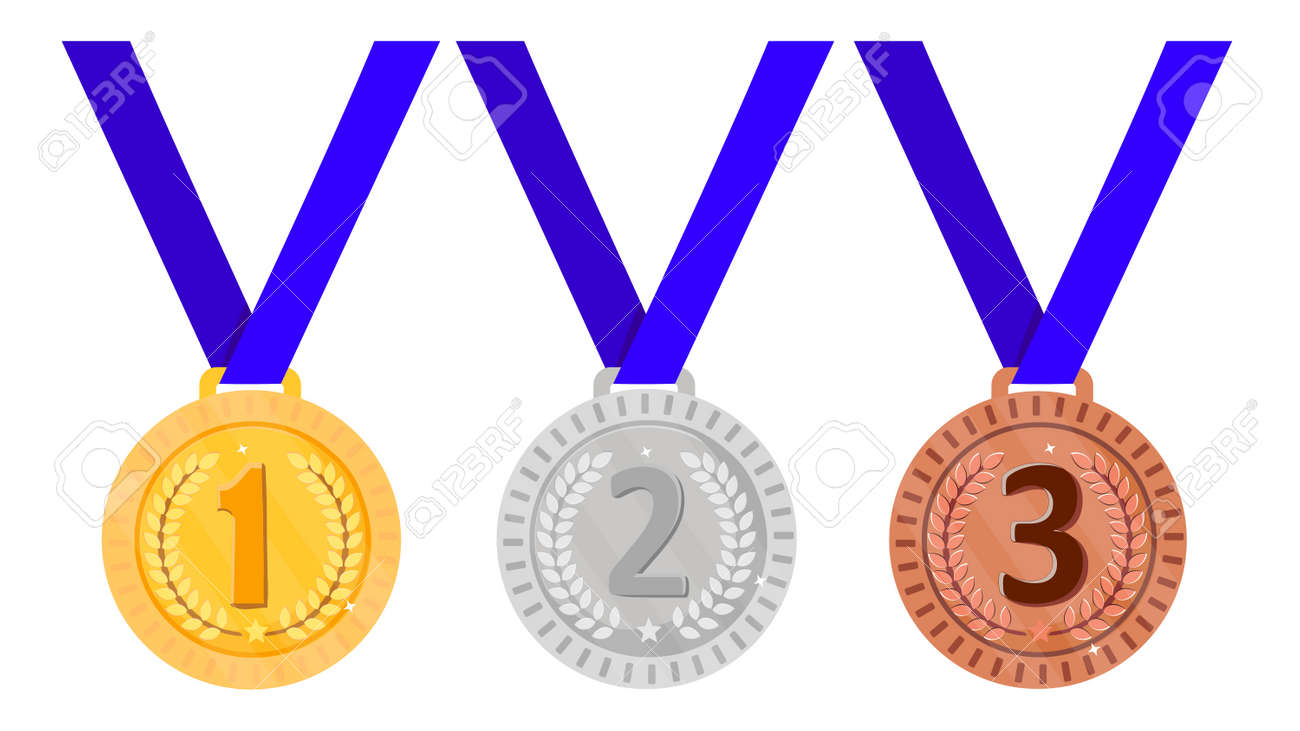 Set of medals - gold, silver and bronze. Vector illustration. - 158543138