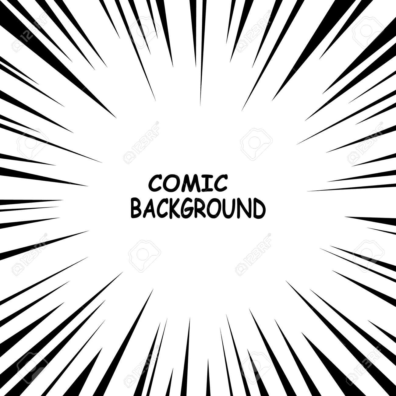 Pop art comics book cartoon magazine cover. Cosmic zoom rays focus lines background design. Vector illustration. - 158871130