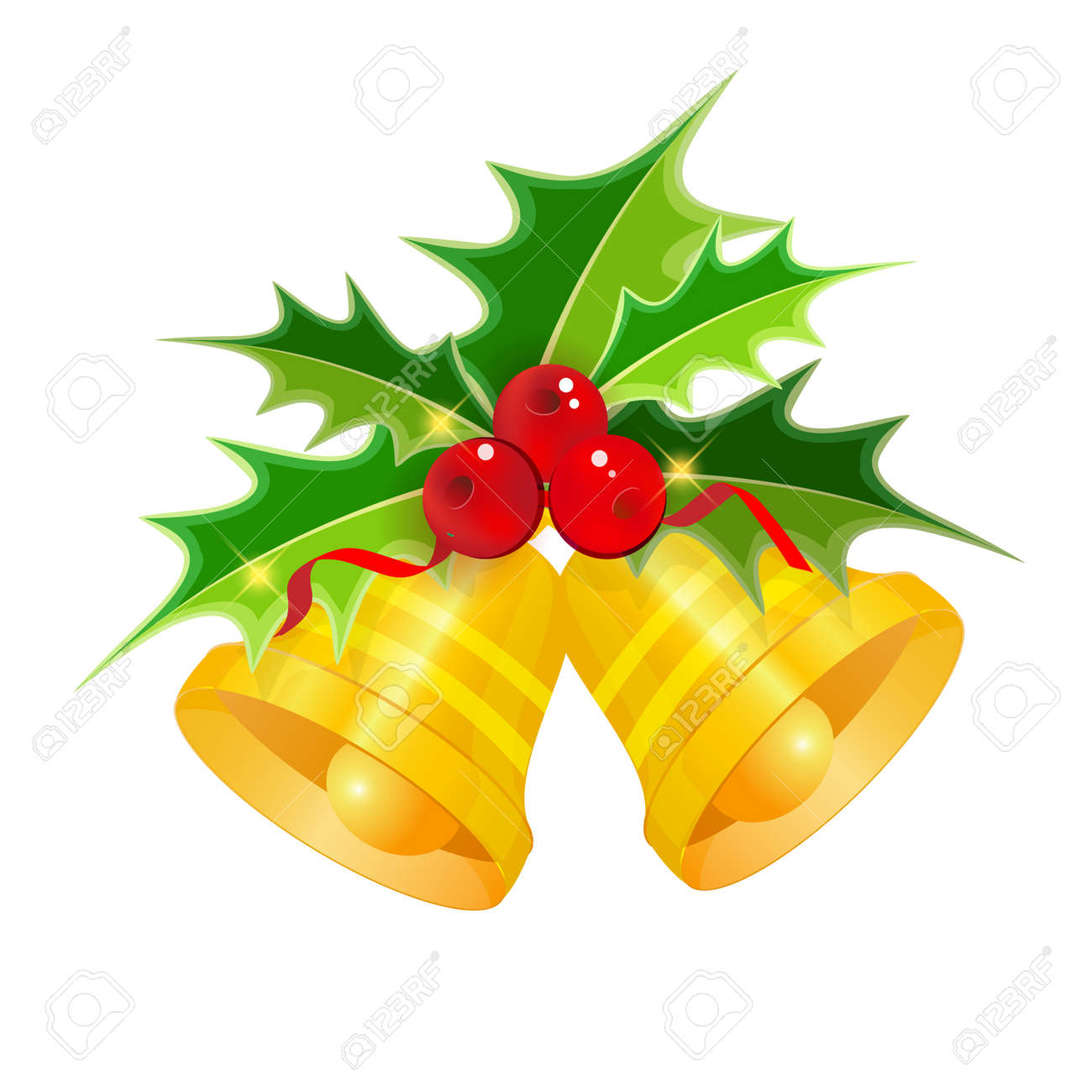 Vector Golden Christmas bells with Holly isolated on white background - 159648323